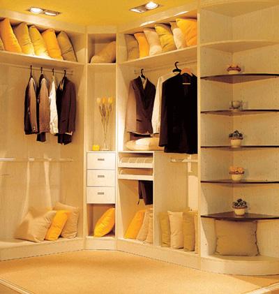 衣帽间转角衣柜设计图展示
