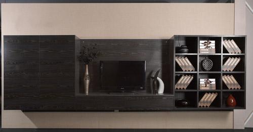 黑色木纹效果电视柜
